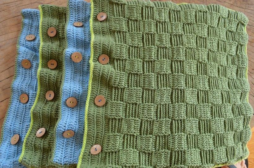 niebiesko-zielone powłoczki szydełkowe
